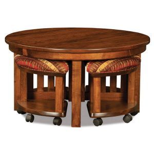 5 pc. Round Table Bench Set AJW5RD AJ Woodworking