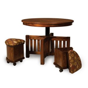 5 pc. Round Table Bench Set AJW5RDES Open AJ Woodworking